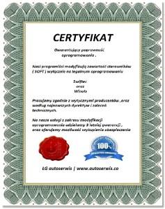 Certyfikat poprawności oprogramowania