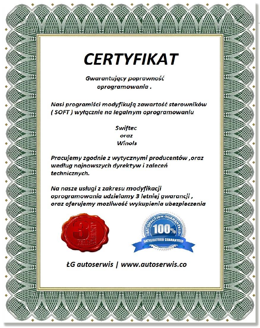 Certyfikat Gwarancja